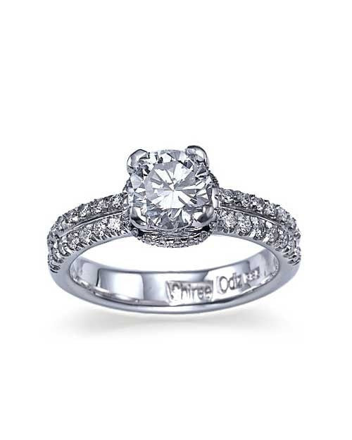 White Gold Double-Shank Pave Set Engagement Ring - 0.75ct Diamond - Custom Made