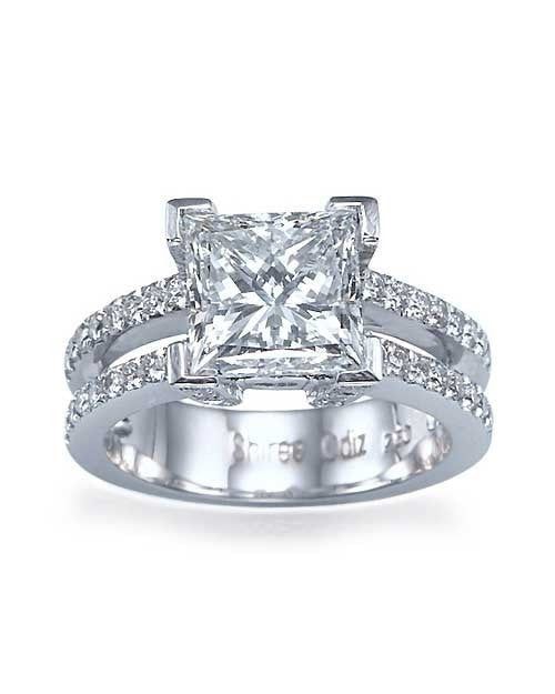 White Gold Double-Shank Princess Cut Engagement Ring - 2ct Diamond - Custom Made