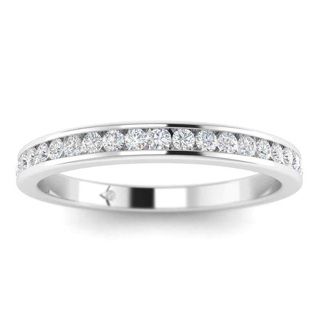 White Gold Flat Channel Set Diamond Eternity Band Ring - Custom Made