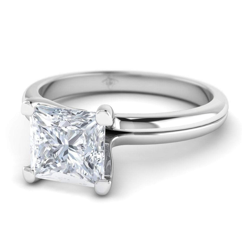 White Gold 0.70 carat D/SI1 Princess Cut Diamond Engagement Ring Floating 4-Prong Solitaire - Custom Made