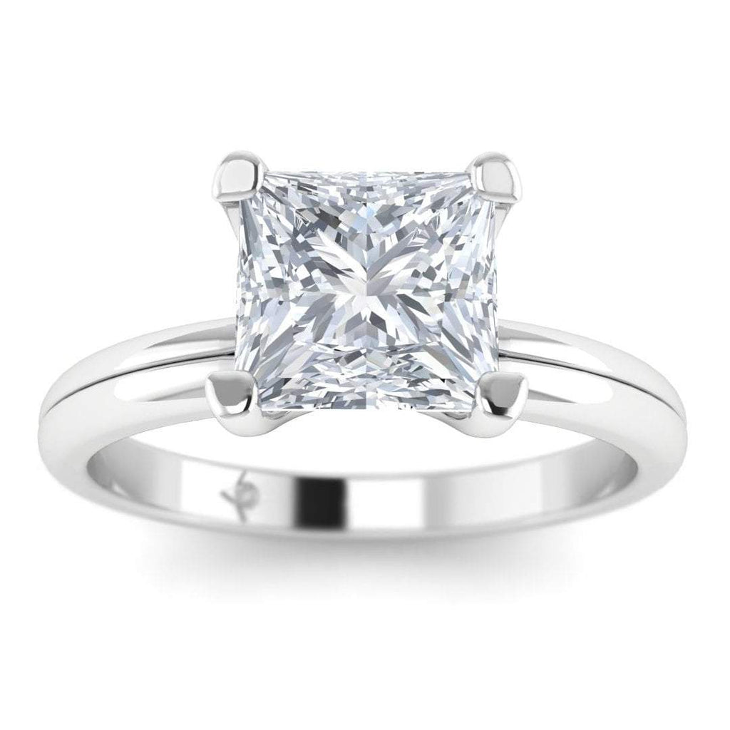 White Gold 1.50 carat D/SI1 Princess Cut Diamond Engagement Ring Floating 4-Prong Solitaire - Custom Made