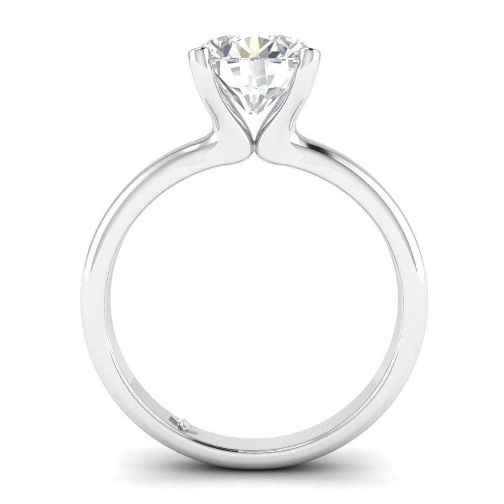 EN-SO-14-CE-D-SI1-EX White Gold Floating 4-Prong Solitaire Round Diamond Engagement Ring - 1.00 carat D/SI1 Clarity Enhanced