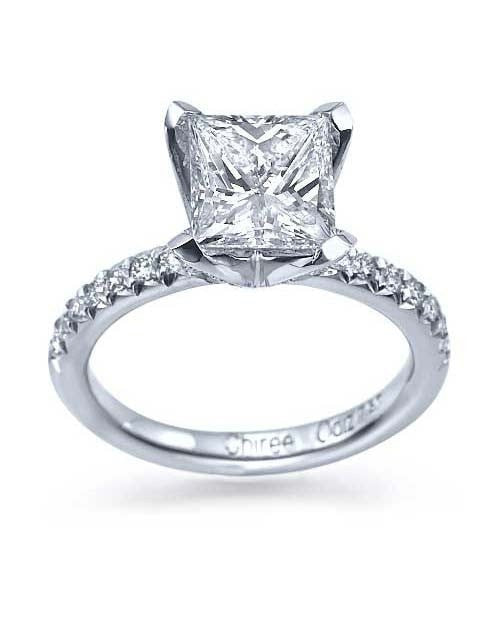 Engagement Rings White Gold Flower 4-Prong Princess Cut Engagement Ring - 1.5ct Diamond