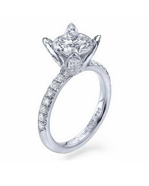 White Gold Flower 4-Prong Round Cut Engagement Ring - 1.5ct Diamond - Custom Made