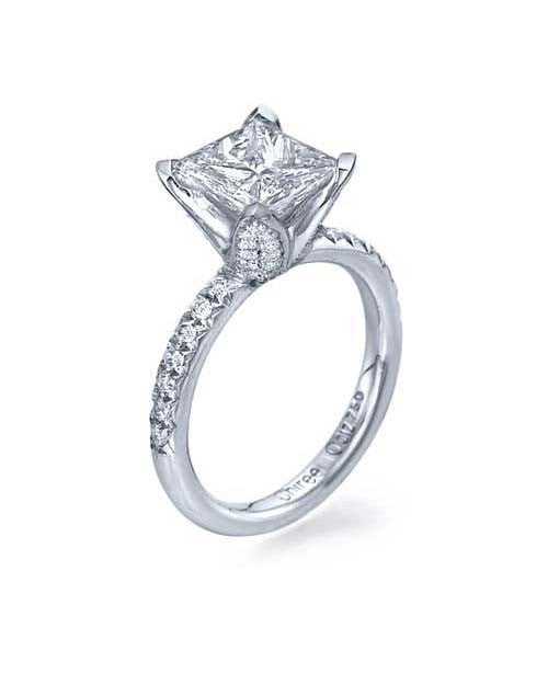 White Gold Flower Designer Princess Cut Prong Ring Semi Mount Settings - Shiree Odiz