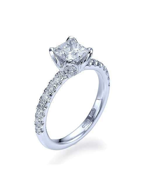 White Gold Flower Unique Princess Cut Engagement Ring - 1ct Diamond - Custom Made
