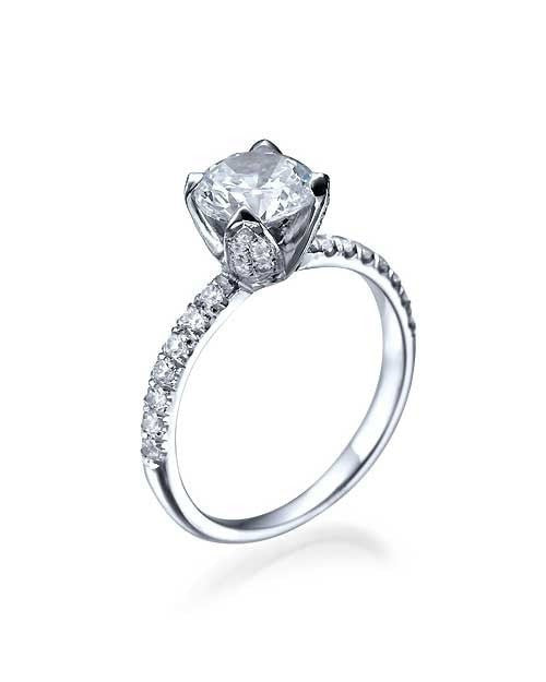 White Gold Flower Unique Round Cut Engagement Ring - 0.75ct Diamond - Custom Made