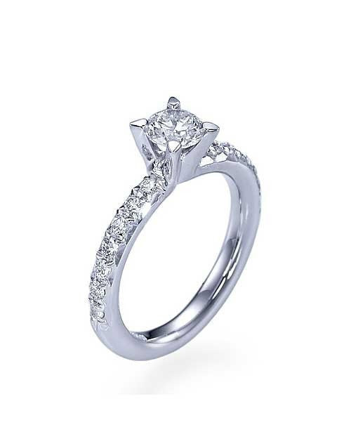 Engagement Rings White Gold French-Cut Page 4-Prong Round Engagement Ring - 0.5ct Diamond