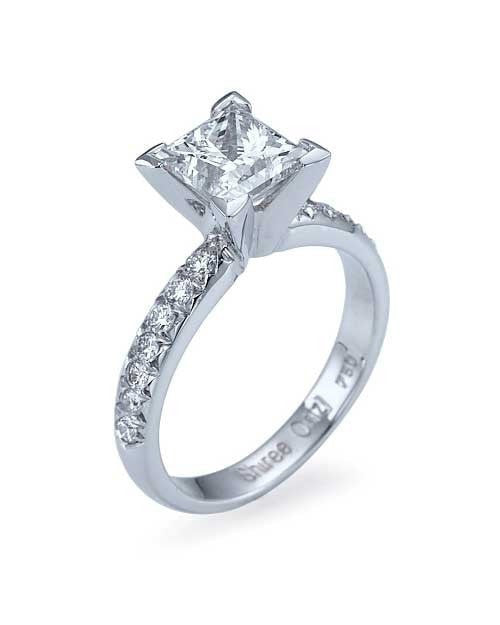 Engagement Rings White Gold French-Cut Pave Set Princess Cut Engagement Ring - 1.5ct Diamond