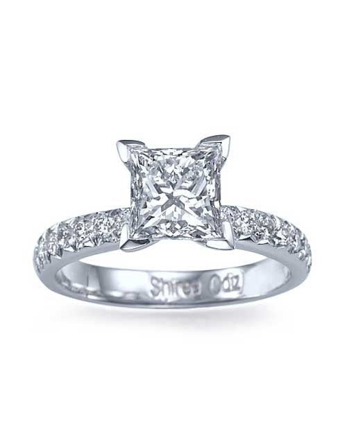 15ct White Gold FrenchCut Pave Set Princess Cut Engagement Ring