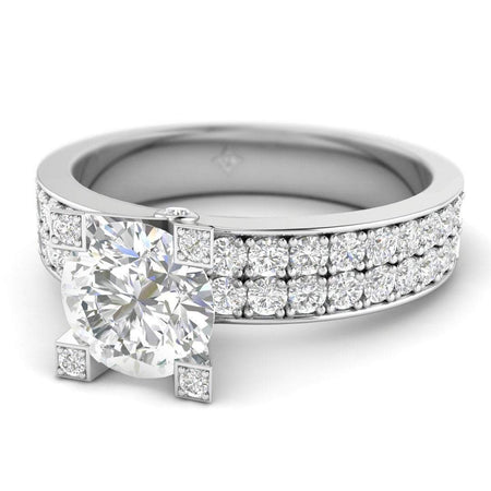 EN-WA-14-CE-D-SI1-EX White Gold French Pave Wide Band Modern Round Diamond Engagement Ring - 1.00 carat D/SI1 Clarity Enhanced