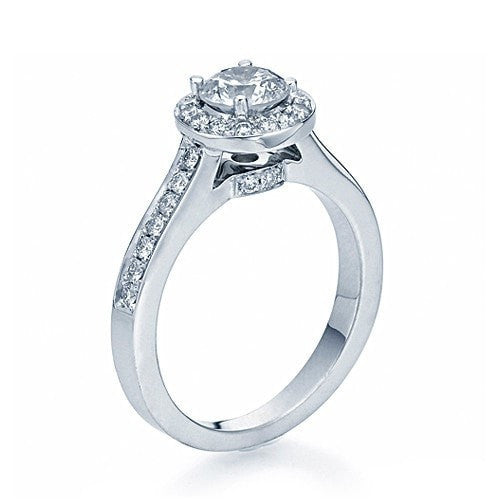 Engagement Rings White Gold Halo Cathedral Round Cut Semi Mount Ring