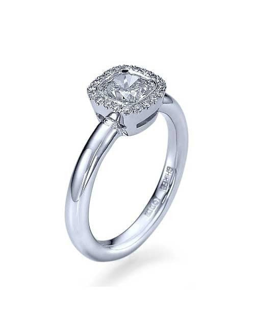 Engagement Rings White Gold Halo Cushion Cut Mount Diamond Rings