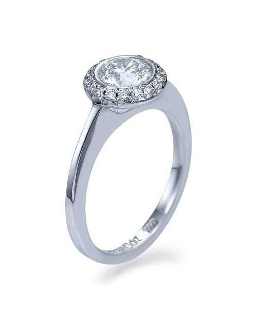 Engagement Rings White Gold Halo Engagement Ring Round Cut Bezel Set 1-Row - 0.75ct Diamond