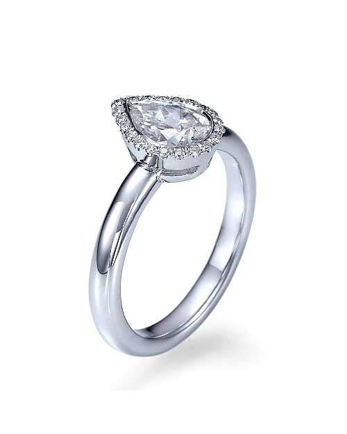 White Gold Halo Pear Shaped Bezel Engagement Ring - 1ct Diamond - Custom Made