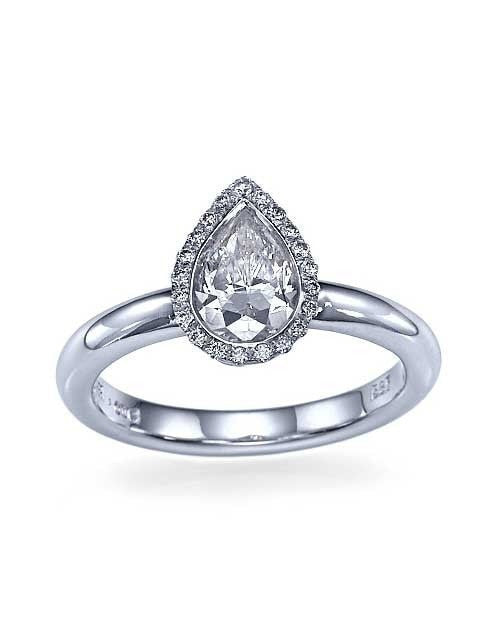Engagement Rings White Gold Halo Pear Shaped Bezel Engagement Ring - 1ct Diamond