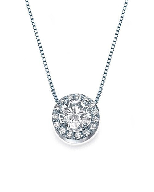 Pendants White Gold Halo Round Diamond Pendant Necklace - 'Vintage Rose' Design