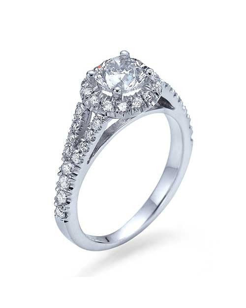Engagement Rings White Gold Halo Split Shank Round Engagement Ring - 0.75ct Natural Diamond