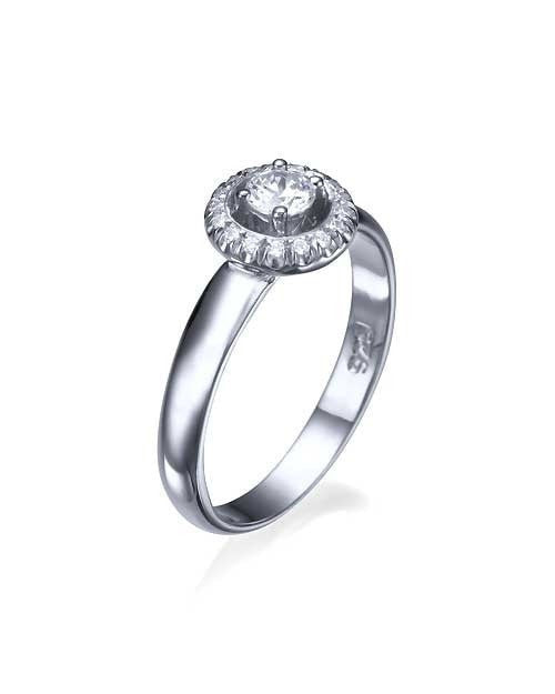 Engagement Rings White Gold Halo Surrounding Round Cut Engagement Ring - 0.3ct Diamond