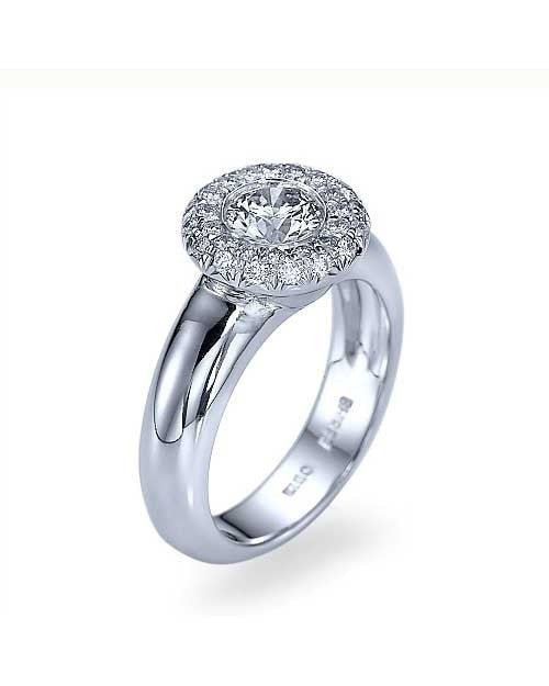 White Gold Halo Wide Band Bezel Engagement Ring - 0.75ct Diamond - Custom Made