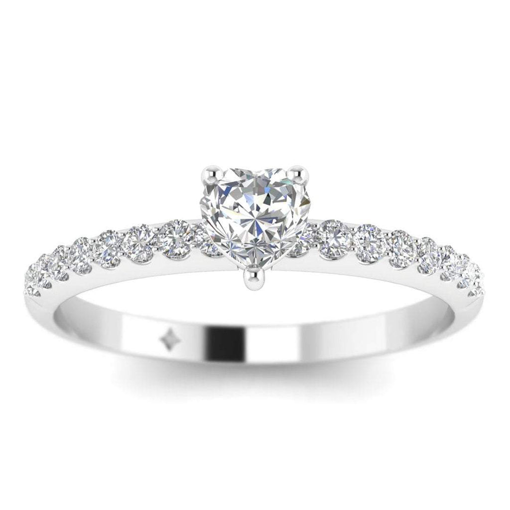 Heart Shaped Diamond Pave Engagement Ring in White Gold - Custom Made