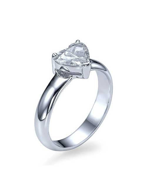 Engagement Rings White Gold Heart Shaped Solitaire Engagement Ring - 1ct Diamond