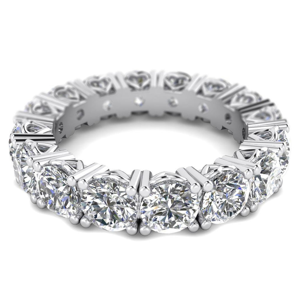 White Gold Hearts Diamond Eternity Band Ring - Custom Made