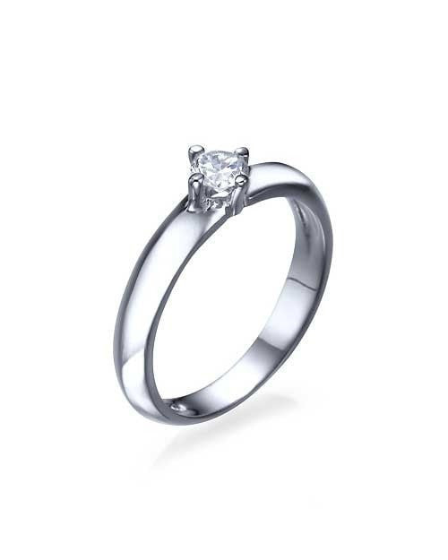 Engagement Rings White Gold Knife Edge 4-Prong Round Cut Diamond Semi Mount Settings