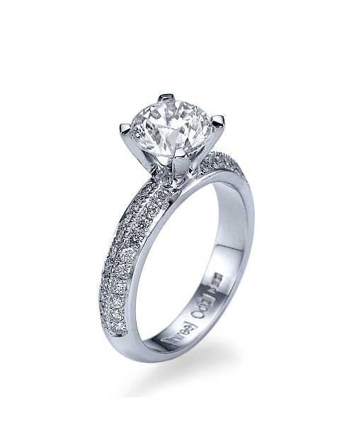 Engagement Rings White Gold Knife-Edge Pave Set 2-Row Vintage Engagement Ring - 1ct Diamond