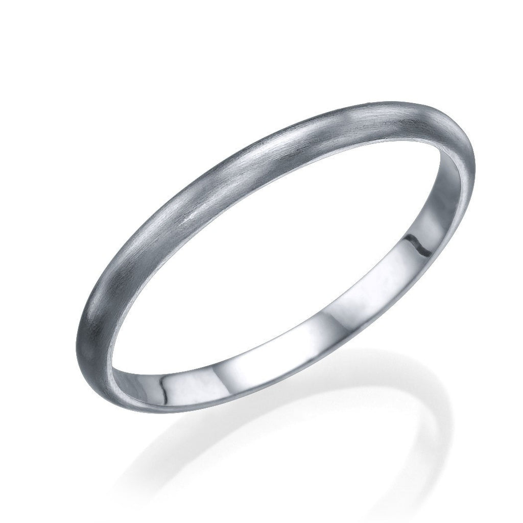 White Gold Men's Wedding Bands - 2mm Rounded Plain Brushed Matte Ring - Custom Made