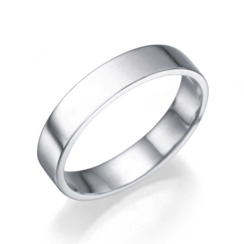 Wedding Rings White Gold Men's Wedding Ring - 3.9mm Flat Design for Him