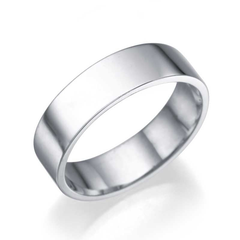 Wedding Rings White Gold Men's Wedding Ring - 5.2mm Flat Design
