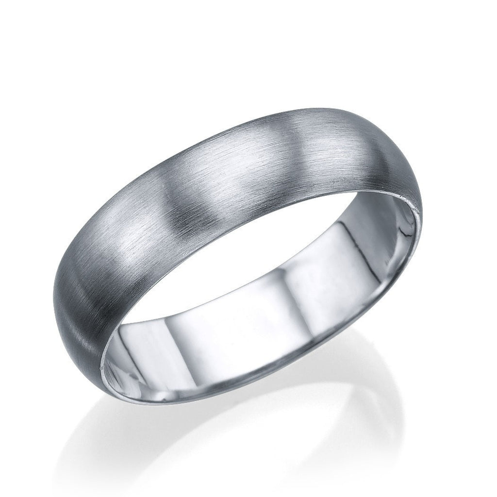 White Gold Men's Wedding Ring - 5.6mm Rounded Brushed Matte Band - Custom Made
