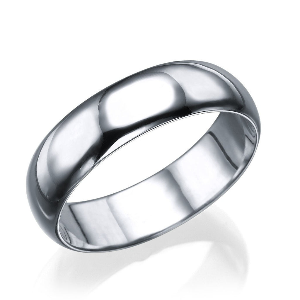 White Gold Men's Wedding Ring - 5.6mm Rounded Plain Band - Custom Made