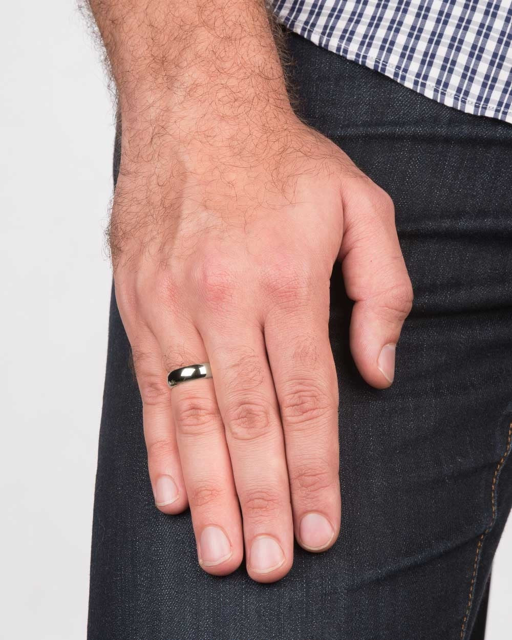 White Gold Mens Wedding Ring 56mm Rounded Design by Shiree