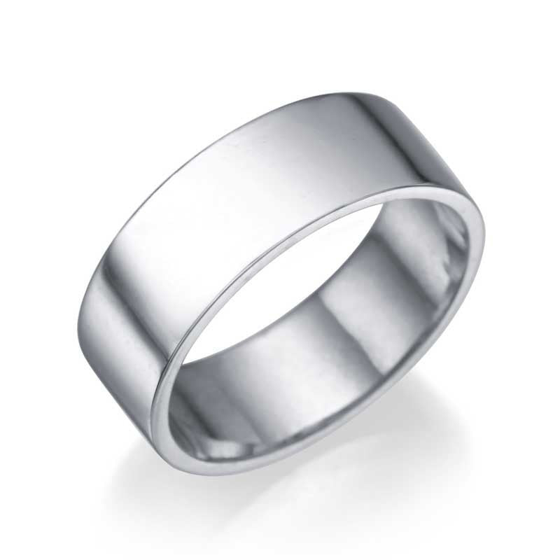 White Gold Men's Wedding Ring - 6.4mm Flat Design - Custom Made