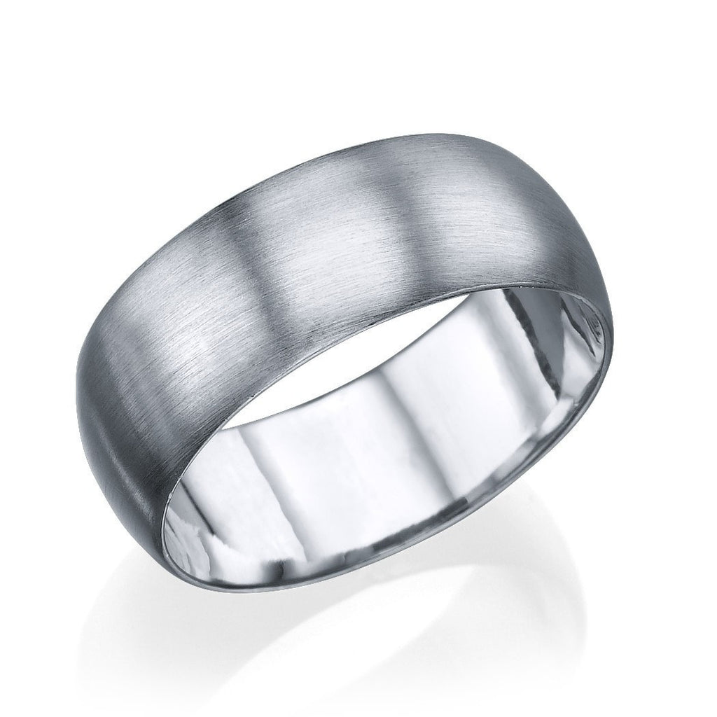 Wedding Rings White Gold Men's Wedding Ring - 7.7mm Rounded Brushed Matte Band