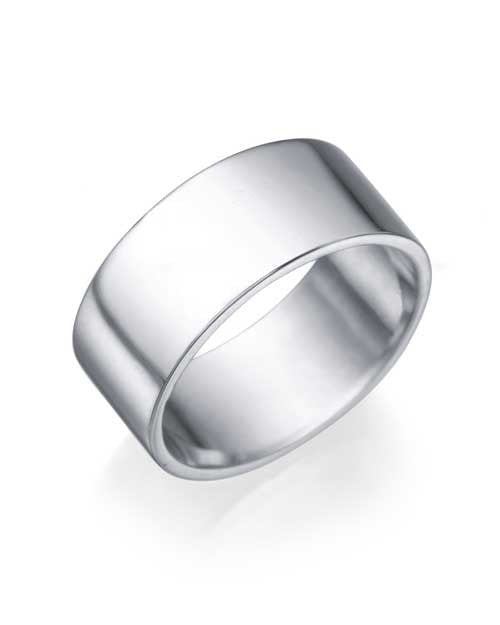 Mens White Gold Wedding Ring 8mm Flat Design by Shiree Odiz NY