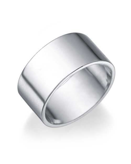 White Gold Men's Wedding Ring - 9.4mm Flat Design - Custom Made