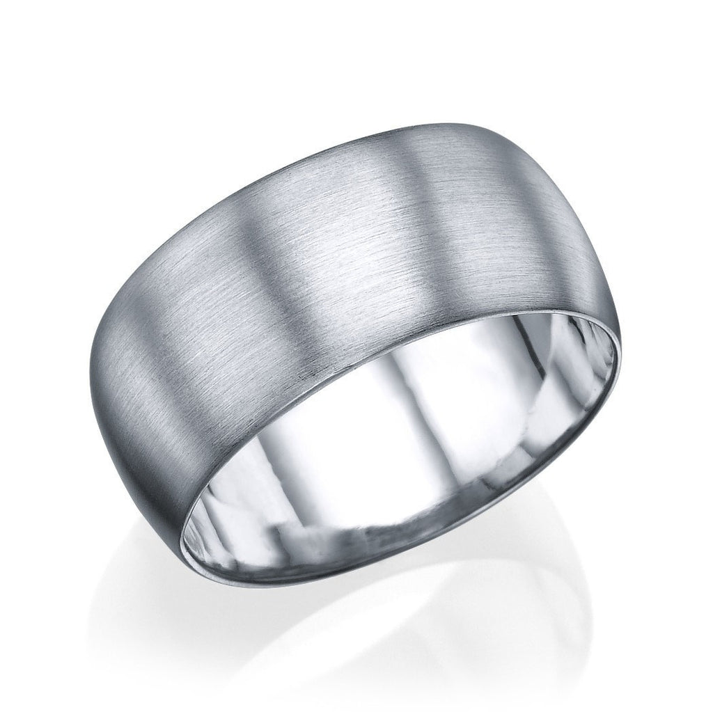 White Gold Men's Wedding Ring - 9.5mm Rounded Brushed Matte Band - Custom Made