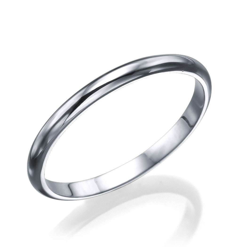 White Gold Mens Wedding Ring 25mm Rounded Design by Shiree Odiz NY