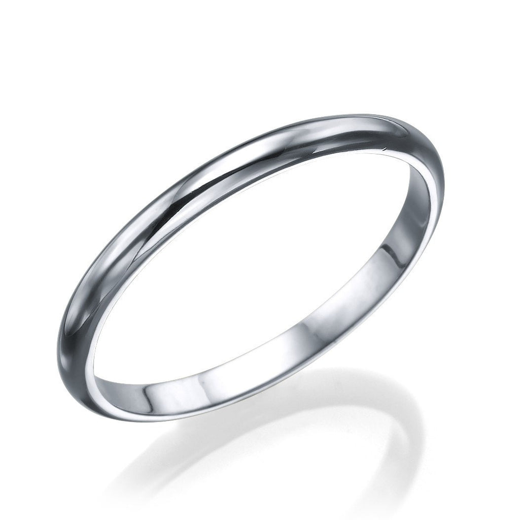 White Gold Men's Wedding Rings - 2mm Rounded Plain Shiny Band - Custom Made