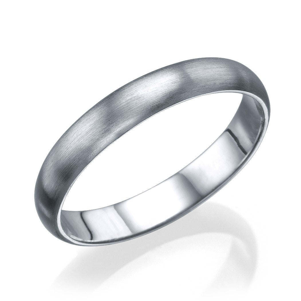 Attirant Wedding Rings White Gold Mens Wedding Band   3.6mm Plain Rounded Matte Ring