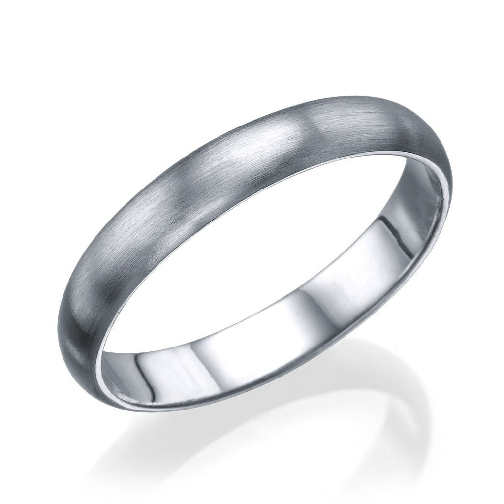 White Gold Mens Wedding Band - 3.6mm Plain Rounded Matte Ring - Custom Made