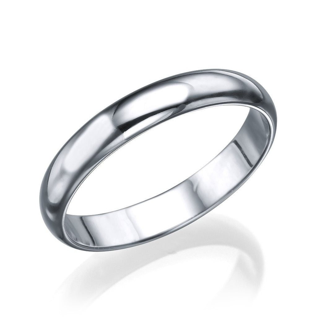 Wedding Rings White Gold Mens Wedding Ring - 3.6mm Plain Rounded Band