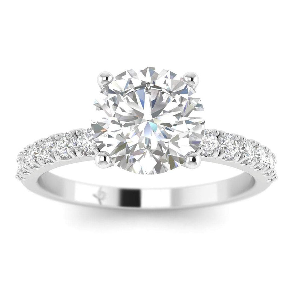 EN-WA-14-NAT-D-SI1-EX White Gold Micro Pave 4-Prong Modern Round Diamond Engagement Ring - 1.00 carat D/SI1 100% Natural