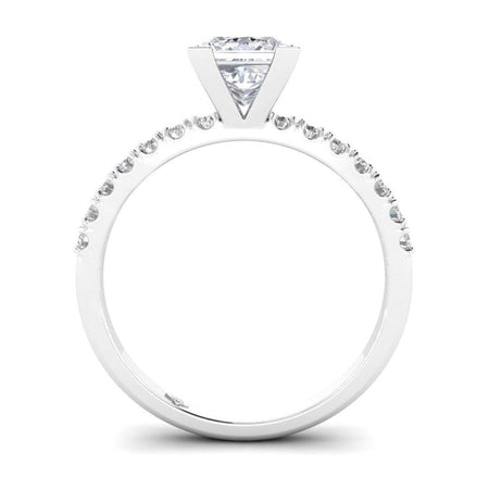 EN-WA-14-CE-D-SI1-EX White Gold Micro Pave 4-Prong Square Princess Cut Diamond Engagement Ring - 1.00 carat D/SI1 Clarity Enhanced