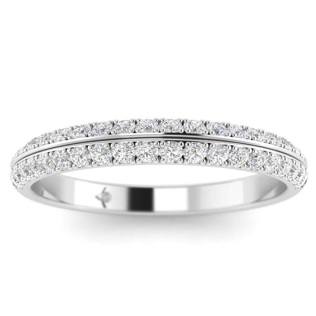 White Gold Pave 2-Row Modern Diamond Eternity Band Ring - Custom Made