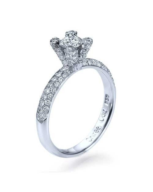 Engagement Rings White Gold Pave 4-Prong Design Semi Mount Engagement Rings