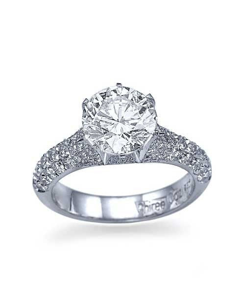 White Gold Pave Set 6Prong Designer Engagement Ring Setting Only